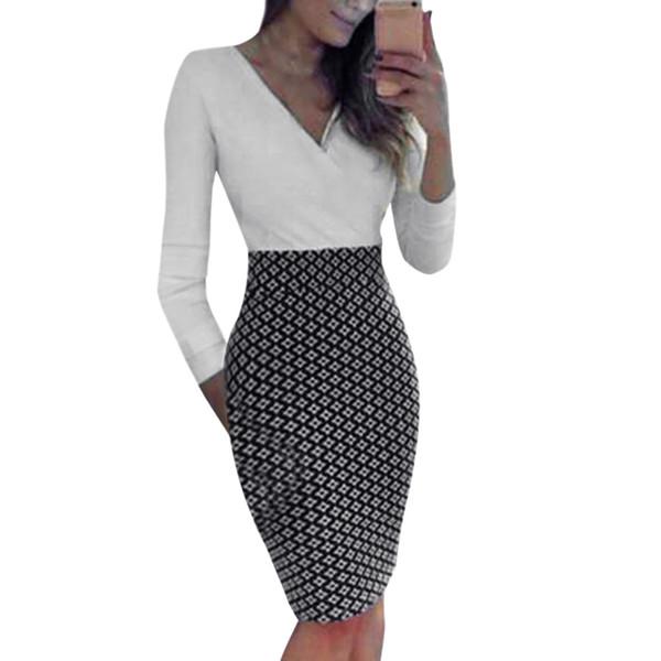 Bayan Bayanlar Uzun Kollu Slim Fit Midi Elbise Çalışma OL Gömlek Akşam Parti Elbise # 8
