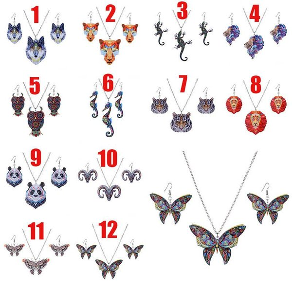 Thermal Transfer Acrylic Animal Necklace Earrings Jewelry Set Lion Tiger Wolf Butterfly Owl Seahorse Pendant Women Fashion Drop Ship 162605