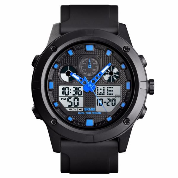 Skmei homens analógico relógio do esporte digital 50 m à prova d 'água cronógrafo data alarme casual outdoor relógios de pulso para homens presente