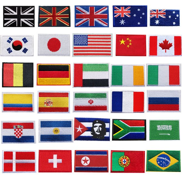 30 Countries Embroidered National Flags Patches Sew Iron On Badges USA UK AU For Bag Jeans Hat T Shirt DIY Appliques Craft Decoration