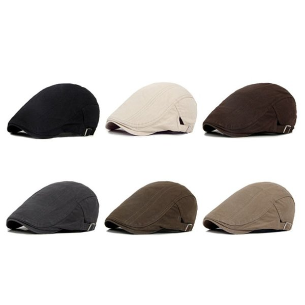 1pc men classic cotton duckbill flat beret cap british style solid color retro newsboy adjustable painter hat