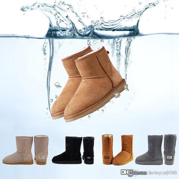 2019 kış Avustralya Klasik kar Boots iyi moda WGG uzun çizmeleri gerçek deri Bailey ilmek kadın Bailey yay Cizme erkek sho