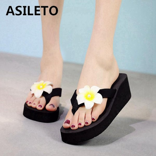 cf363ebb3e981e ASILETO Summer Bohemia Slippers women s Flip Flops Flower Wedge Sandals  Casual Beach Slippers Platform pantoufles zapatos