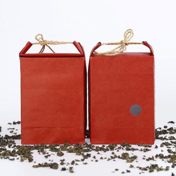 Borsa di imballaggio di carta di tè rosso del riso portatile Favore di matrimoni della carta kraft e borsa del regalo con la finestra QW9730