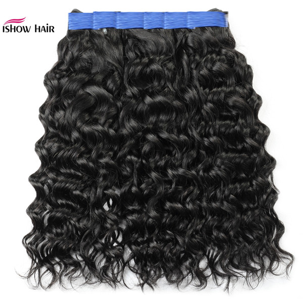 New 10a brazilian water wave human hair bundle 3 4 bundle deal kinky curly indian remy human hair weft exten ion deep wave body wave, Black