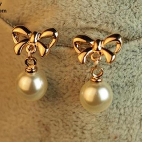 2017 New Simple Fashion Butterfly Drop Earring Gold Bow Pearl Dangle Earrings Women Accessories Boucle D'oreille