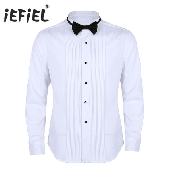 magasiner pour authentique produits de commodité code promo 2019 Mens Chemise Homme Clothing Wingtip Collar Slim Fit Solid Color Casual  Tuxedo Dress Shirts With Bow Tie For Weeding Parties Tops From Meizuang, ...