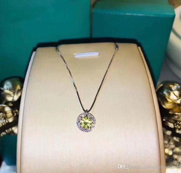 925 sterling silver round pendant with Yellow diamond and logo engraved fit pandora necklace with cz paved for wedding gift PS5041