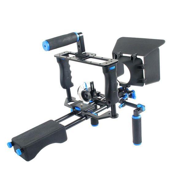 Freeshipping DSLR-Anlage-Installationssatz-Videounterstützungskamerakäfig / Schulter-Einfassung / Mattkasten / folgen Fokus für Kamera-Kamerarecorder Canon-Nikon Sony