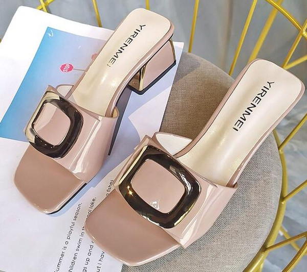 High-heeled slippers women wear new metal buckle Korean version of temperament sandals fashion wild thick with a word drag