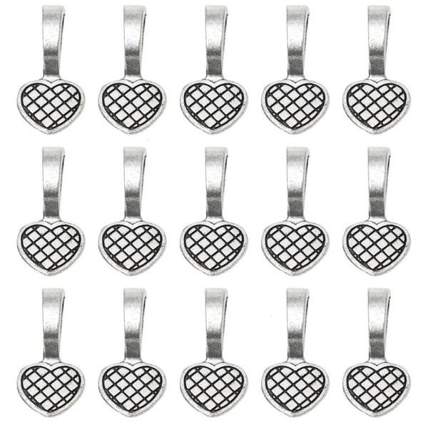 Античное серебро клей на сердце залоги ювелирные изделия царапают клей на серьги залоги стеклянные плитки подвески для ювелирных изделий 19 * 9 мм