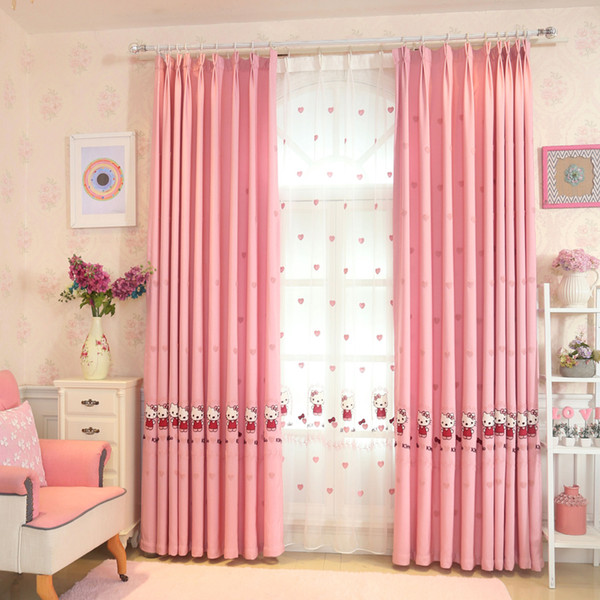 2019 Japanese And Korean Cartoon Styles Pink Katie Cat Embroidered Curtains  For Kids Bedroom Bay Window Voile Sheer Curtains From Sophine08, $25.75 |  ...