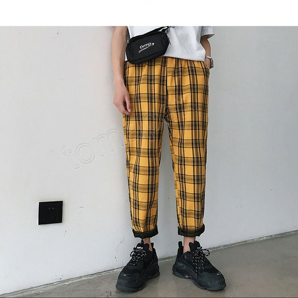 Streetwear Amarelo Xadrez Calças Dos Homens Corredores 2019 Homem Casual Harem Pants Reto Masculino Coreano Primavera Calças de trilha Plus Size