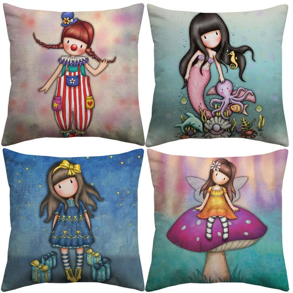 best selling 12 Styles Cartoon Children Cushion Covers Hand Painting Mushroom Mermaid Child Cushion Cover Sofa Couch Decorative Linen Pillowcase
