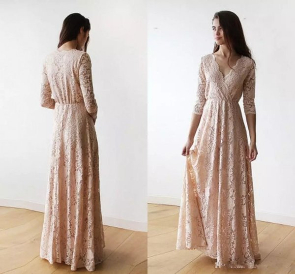 Vintage Lace Blush Pink Bridesmaid Dresses Long Sleeve 2019 Plus Size V-neck Full length Maid of Honor Junior Wedding Guest Dinner Gown