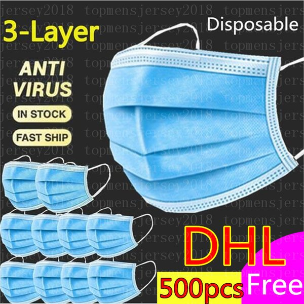 in stock anti-virus mask disposable face 3-layer mask dhl fast shiping dust-proof masks with elastic earrings protective face masks