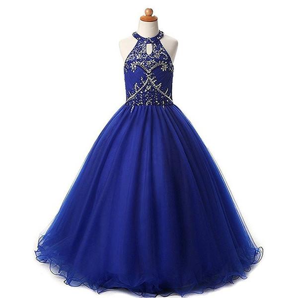 Moderne Royal Blue Halter Filles Pageant Robes 2019 Cristal Perlé Sequin Tulle Une Ligne Creuse Dos Pas Cher Long Enfants Formelle Robe De Bal
