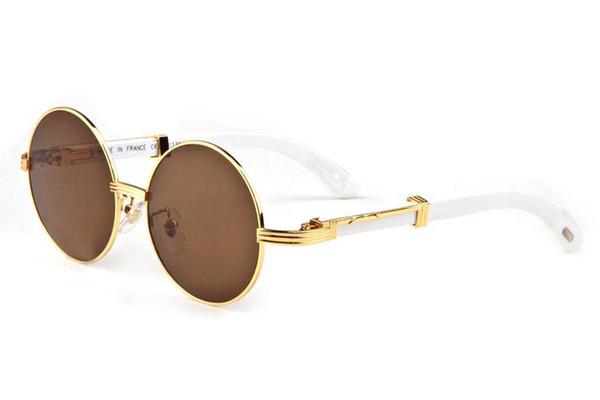 Toptan Satış - Erkekler Kadınlar için çerçevesiz Yuvarlak Güneş Gözlüğü Marka Tasarımcısı güneş gözlüğü buffalo boynuz gözlük Temizle kahverengi lens ile ahşap çerçeve kutusu