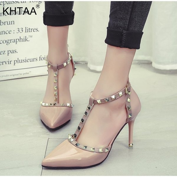 Shoes KHTAA Women High Heels Fashion Sexy Stiletto Pumps Ladies Pointed Toe Buckle Strap Rivets Patent Leather Party for Girls