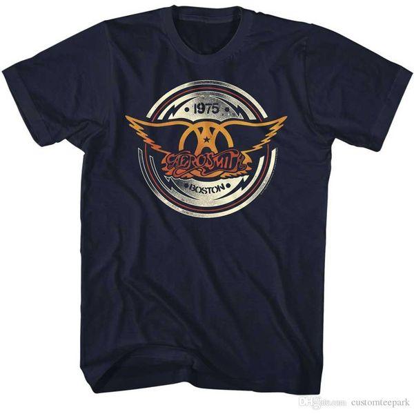 Aerosmith Mens New AERO CIRCLE T-Shirt in 100% Navy Cotton Tee in Sizes SM-5XL