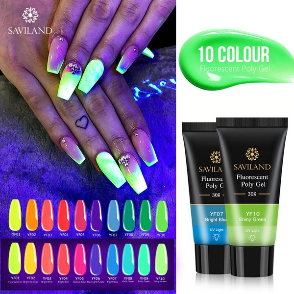saviland 30g fluorescent neon uv polygel extensions quick building 10 colors uv led builder gel camouflage nail art design