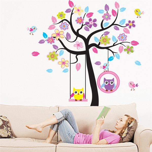 Zn Novo Coruja Pássaro Swing Árvore Adesivos de Parede Árvore Decalques De Parede Dos Desenhos Animados Home Decor Para Quartos de Crianças Crianças Do Berçário Do Bebê quartos