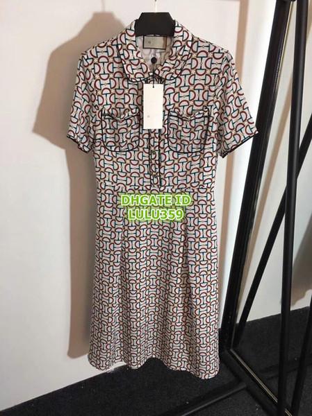 Women Vintage Print Dress With Pocket Girls Brand Short Sleeve T-Shirt Dress Tee Knee-Length Casual Female Runway Dress