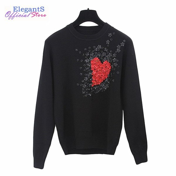 2019 Autumn Women Sweater Pullover Flower Applique Beaded Autumn Knit Jumper Celebrity Heart Pattern Casual Pull Female Clothing