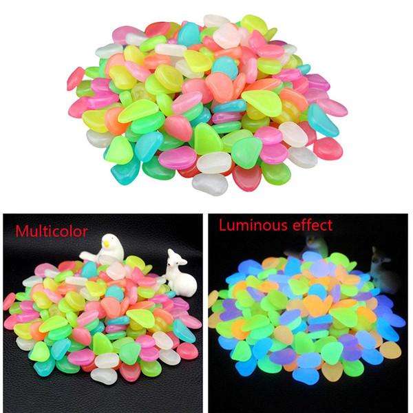100 Glow in Dark Pebbles Stone Home Garden Walkway Aquarium Fish Tank Valentine Ciclismo Senderismo Accesorios Alta calidad 1 de agosto