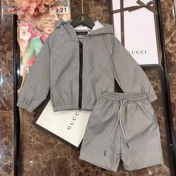 Erkek Iki Parçalı Kıyafetler 2019 İlkbahar Ve Sonbahar Kız Renk Mektup Uzun Kollu Kazak + Pantolon Eğlence Hareket Takım Çocuk giyim 0714