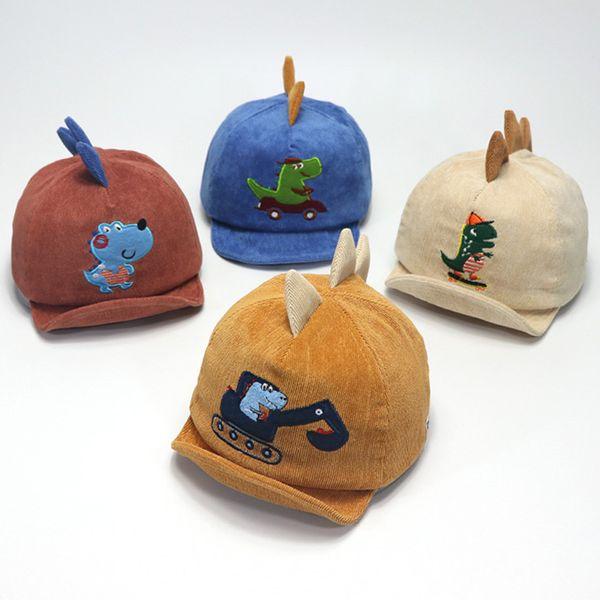 Cute Baby Boy Hats 3D Cartoon Print Soft Cotton Sunhat Eaves Baseball Cap Sun Hat Children Kids Winter Warm Beret Hats