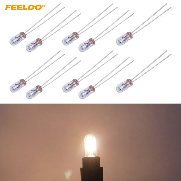 FEELDO 10Pcs Car T3 12V 30MA Halogen Bulb External Halogen Lamp Replacement Dashboard Bulb Light Warm White #AM2687