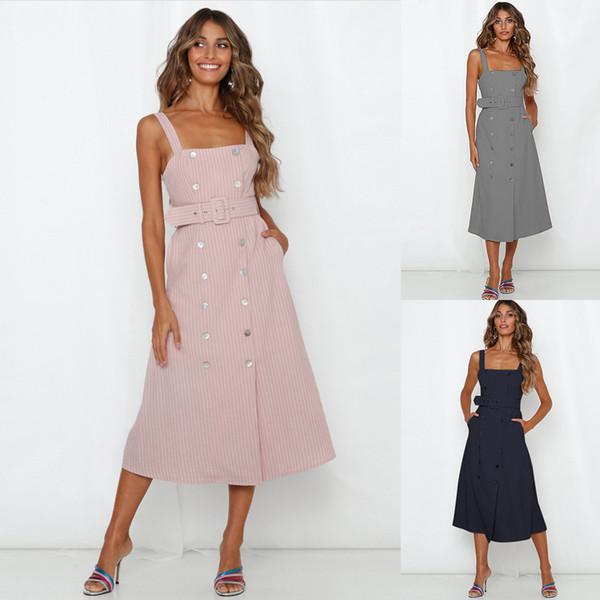 Neue damenmode sommer kurze casual kleider dame zweireiher breiten gürtel tasche streifen sling weste ärmellose midi rock dress