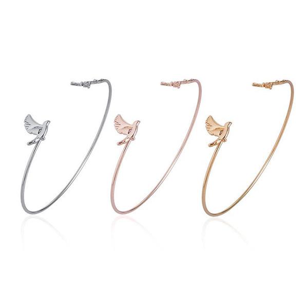 Sıcak Satış Basit Moda Barış Dove şube Charms Bilezik Kadınlar Kızlar Için Güzel Tiny Kuş Bilezik Pulseira