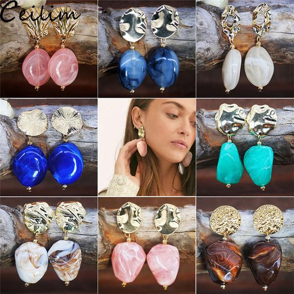 New Korean Style Multi Color Acrylic Earrings Irregular Geometric Metal Resin Stone Dangle Earring For Women Girls Jewelry