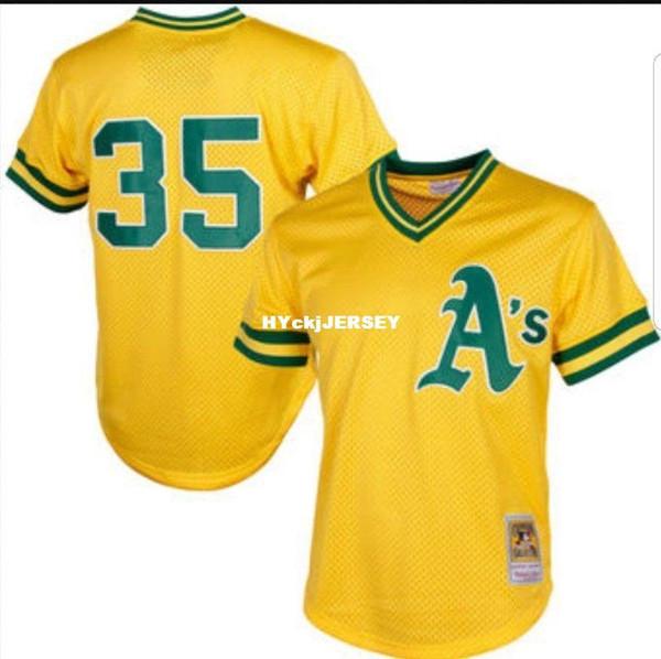 Cheap Mitchell & Ness Henderson #35 Yellow Mesh Batting Practice Jersey A'S Throwbacks Mens stitched baseball jerseys