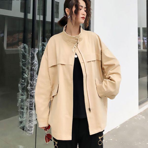 tvvovvin 2019 spring autumn stand long sleeve bif size spliced pockets zipper metal decoration jacket women coat fashion d130 - from $44.38