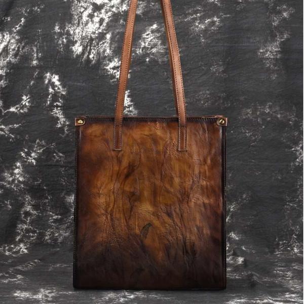 New Brand Femal Genuine Leather Handbags Ladies Retro Elegant Shoulder Bag Cow Leather Handmade Deer and Tree Paintings Bags Big