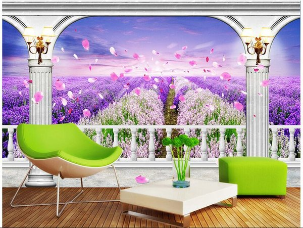 WDBH custom photo 3d wallpaper Lavender flower sea background painting home decor living room 3d wall mural wallpaper for walls 3 d