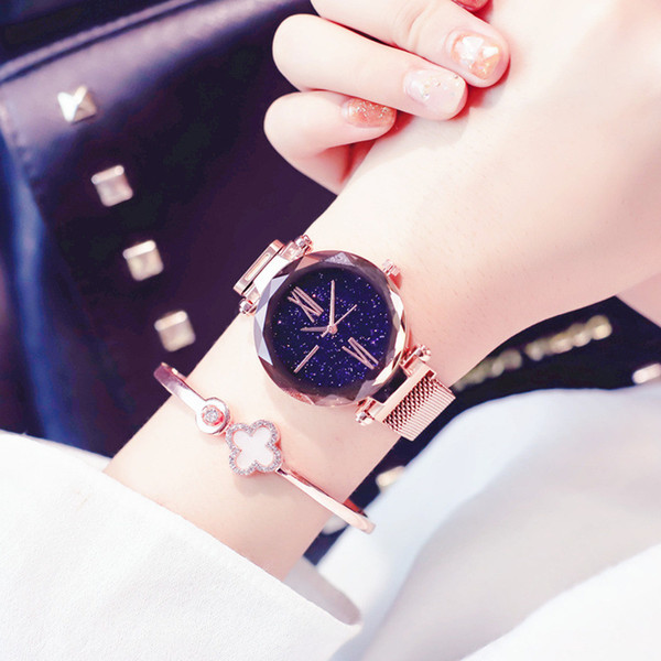 Rose Gold Women Watches Starry Sky Magnet Buckle Watch Fashion Casual Ladies Quartz Wristwatches relogio mujer feminino D