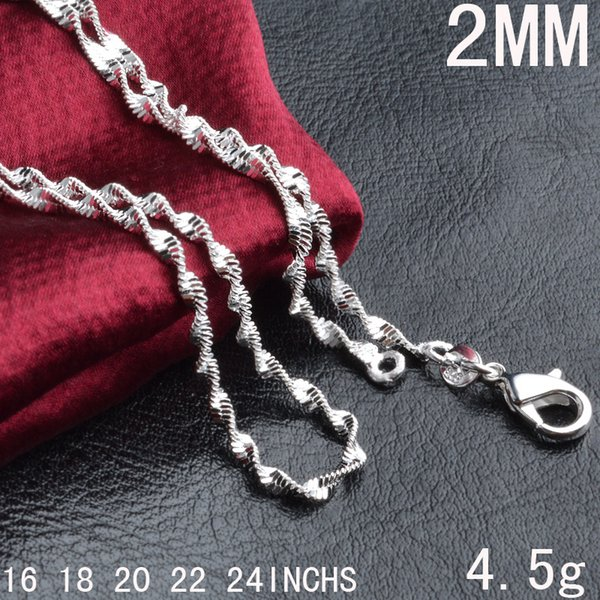 2MM 925 sterling silver smooth double Water wave chains Luxury choker Lobster Clasps Necklaces Jewelry in Bulk 16 18 20 22 24 inches