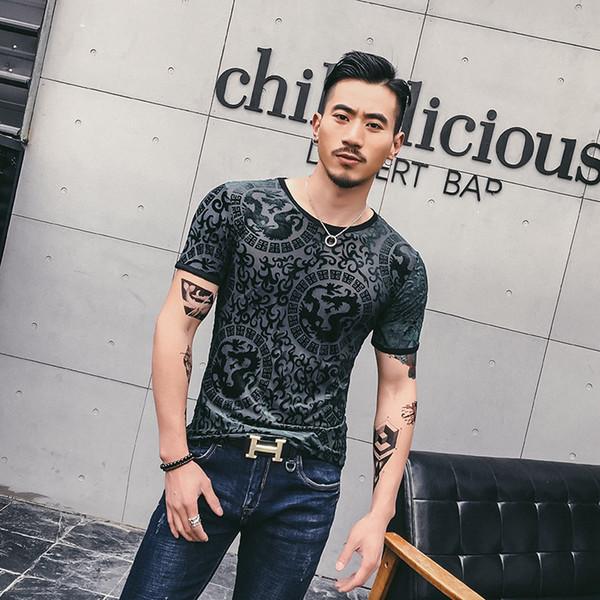 2019 Mens See Through Magliette Social Club Velluto trasparente Magliette per uomo Dragon Camisetas Hombre Slim Fit seta all'ingrosso sexy