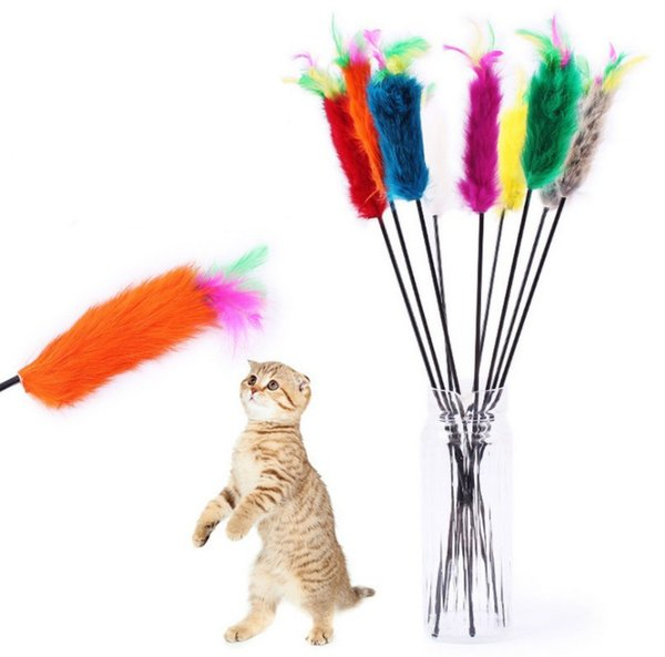 2019 Colorful Rabbit Hair Feather Cat Teaser Elastic Plastic Long Pole Cats Stick Funny Pet Cats Favorite Interactive Training Toys