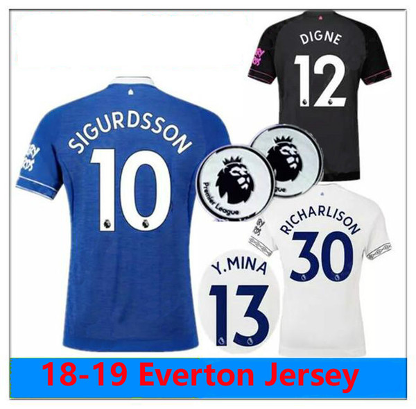 timeless design 88090 9644b 2018 Top Thailand EVERTON Fc Soccer Jersey 2018 2019 MINA ANDRE GOMEZ ZOUMA  DIGNE RICHARLISON WALCOTT Everton Jersey Away 3rd White Away Shirt From ...