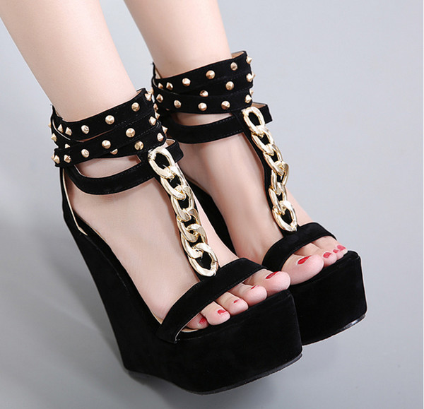 Women Summer 15cm Super High Heels Wedge Heels Sandals Almond-Toe Slingback Studded Heels Comfortable Rivets Dress Shoes