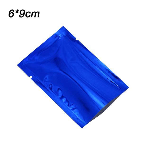 200Pcs/lot Small 6*9cm Blue Open Top Mylar Food Storage Bags Heat Seal Aluminum Foil Coffee Powder Jam Squish Package Bags Vacuum Pouches