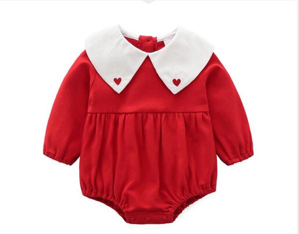 Ins bébé style mignon pour la taille 3, 6 9 mois 3 lettres de couleur barboteuses 0 ~ 10M taille coeur rose rouge gris dentelle barboteuse et robe