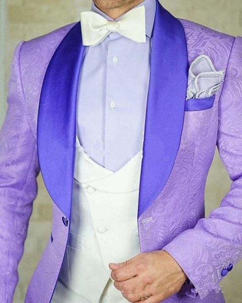New Stylish Design One Button Light purple Groom Tuxedos Shawl Lapel Groomsmen Best Man Suits Mens Wedding Suits (Jacket+Pants+Vest+Tie) 906