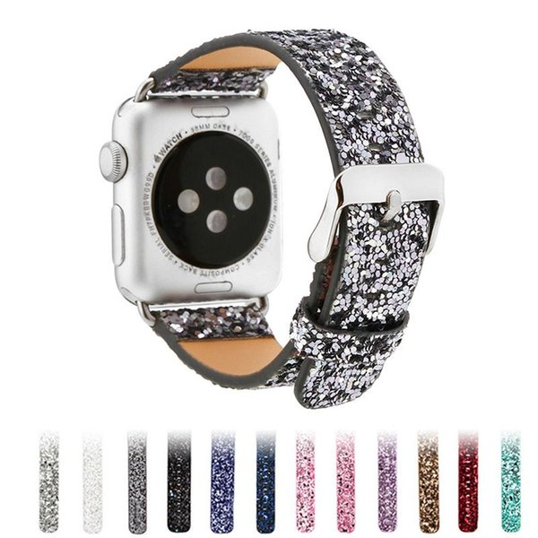 Shiny Glitter PU Leather Apple Watch Band for Apple Watch Strap Series 4 3 2 1 Bracelet Belt for iWatch 38mm 42mm Watchband