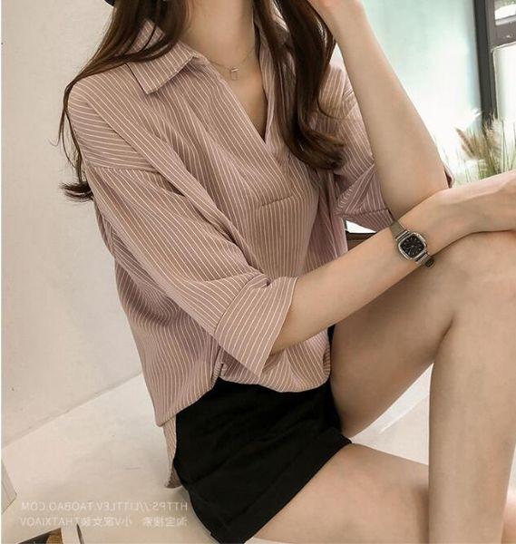 abito estivo nuova versione coreana camicia a maniche larghe a maniche larghe camicia casual da donna a sette punti camicia